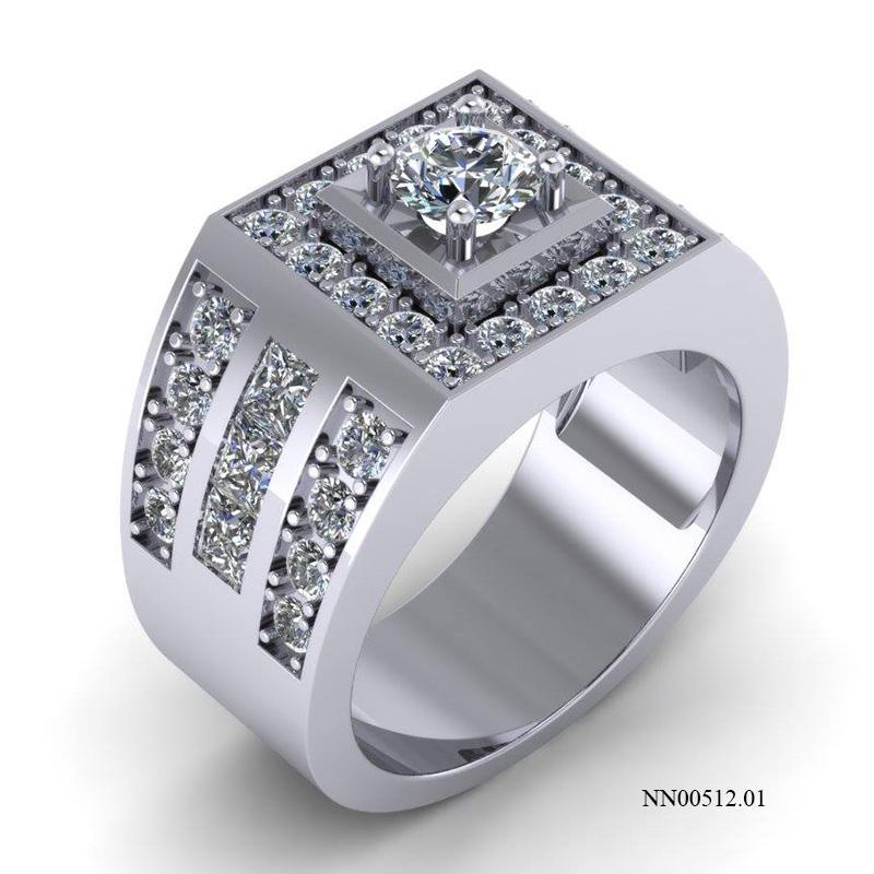 nhẫn nam vàng trắng kim cương