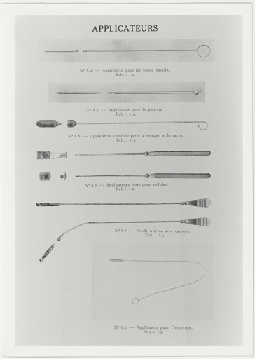 Various types of applicators for the use of equipment containing radium