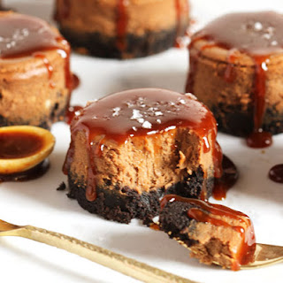 Salted Caramel Mocha Cheesecakes.