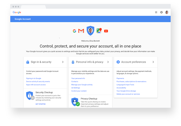 Google Account home screen on Chrome