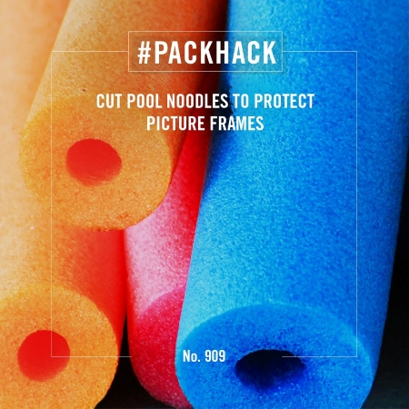 #packhack no. 909 - cut pool noodles to protect picture frames
