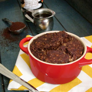 Mocha Baked Oatmeal (with Almond Butter Center).