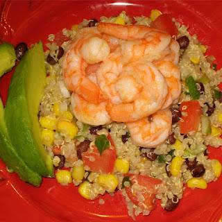 Healthy Mexican Quinoa Salad with Tender Shrimp and Creamy Avocado