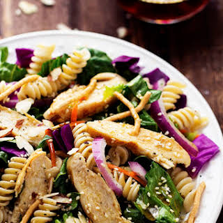 Chinese Chicken Pasta Salad with Sesame Dressing.