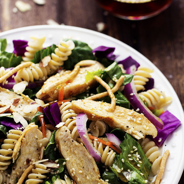 Chinese Chicken Pasta Salad with Sesame Dressing