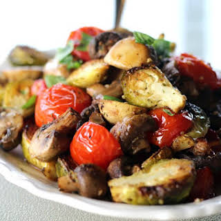 Sheet Pan Brussel Sprouts with Mushrooms & Tomatoes.