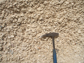 Photo: The Granadilla Pumice. In all, around 215 cm of, on average 3cm pumice lapilli, with smaller grey lithic clasts, making up about 5% of the rock. There is very little ash. This is a Plinian air-fall deposit.