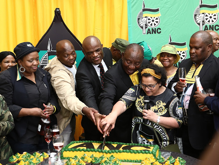 President Cyril Ramaphosa, ANC deputy secretary-general Jessie Duarte and other party members cut a birthday cake in Kimberley on Wednesday. Ramaphosa said the Northern Cape had sun and wind, 'so we can embark on energy programmes'.