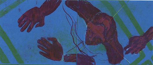 Photo: isolation : litho-offset print, four plates of red, yellow, blue and white ink on blue paper.