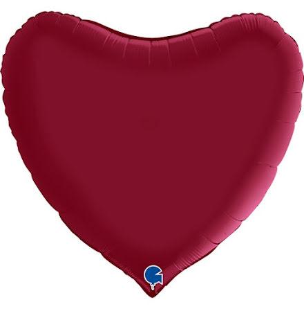 Folieballong Hjärta Satin - cherry, 91 cm