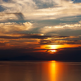 CLOUDS AND SUNSET by Nihan Bayındır - Landscapes Sunsets & Sunrises ( love, reflection, nature, sunset, peace, art, landscape, passion,  )