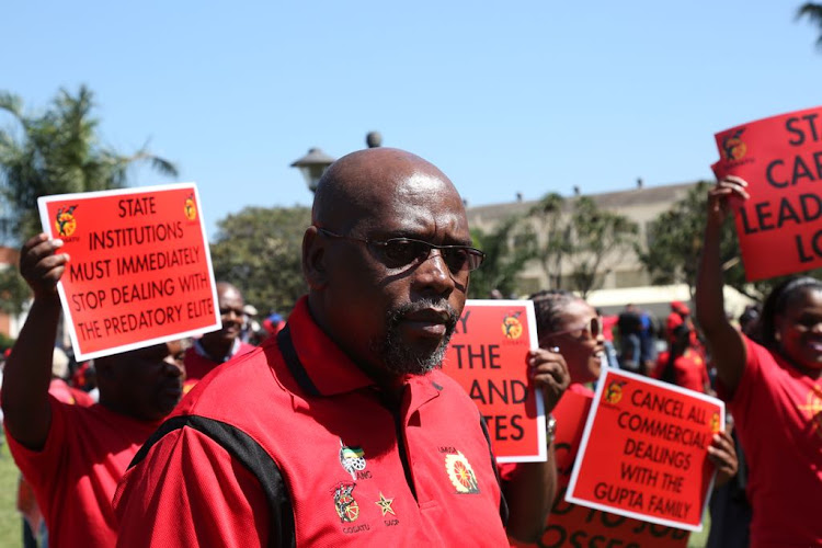 Cosatu President Sdumo Dlamini at King Dinuzulu Park in Durban ahead of a march against state capture on 27 September 2017.