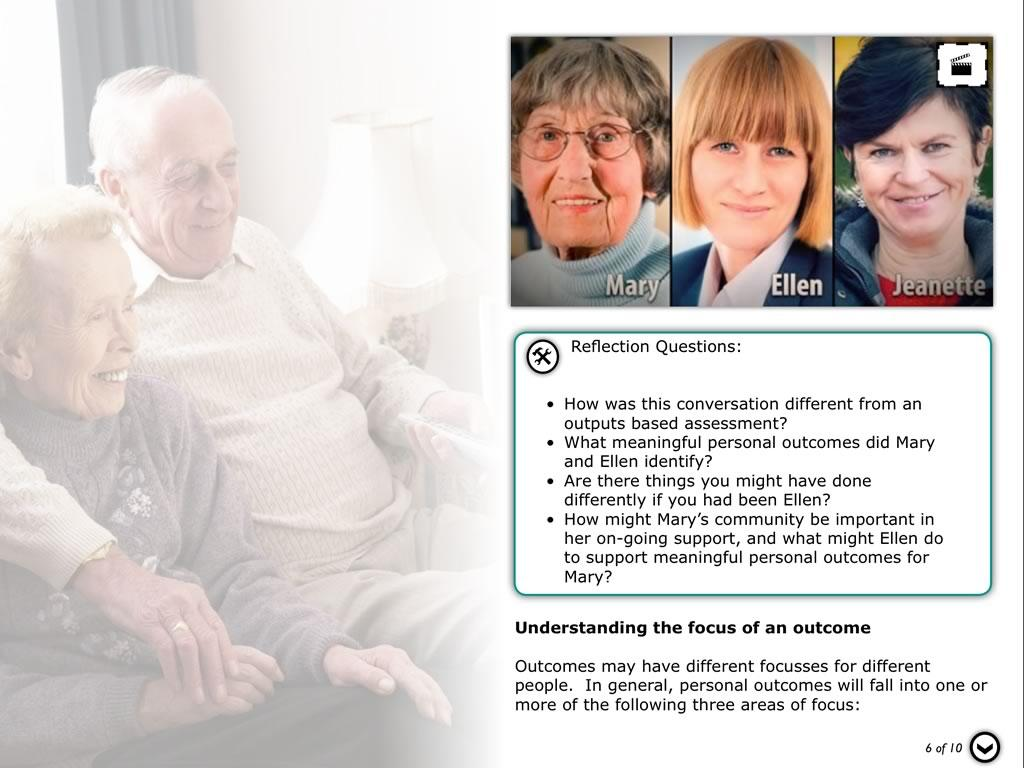 Dementia Personal Outcomes- screenshot