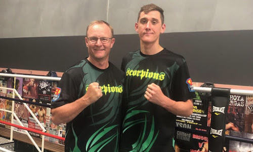Narrabri boxer Shannan Davey, right, with North West Boxing coach Tony O'Connor in Sydney on Saturday.