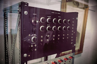 Photo: The main section of the Harmonic tone generator contains a voltage controlled oscillator with the first 6 harmonic sine waves individually amplitude controlled. Note the support for global FM as well as individual harmonic AM. This is a beautiful set of controls to address pitch and harmonic content, and creates a rich and unique sound. This debuted at the same AES show where Moog debuted his paper about the Moog Modular Synthesizer. Jim mentioned in his talk about how Bob Moog was impressed by the extensive timbre control, which ultimately inspired the Moog Transistor Ladder Filter design the year later.
