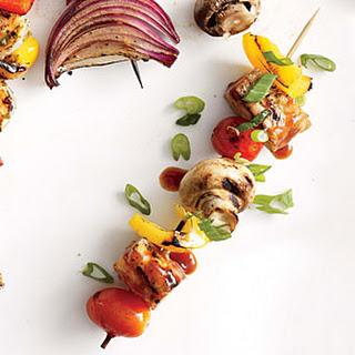 BBQ Tempeh and Mushroom Kebabs