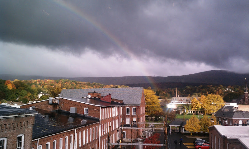 Photo: As the clouds parted, a rainbow appeared at MASS MoCA today!