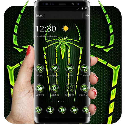 Green Fluorescent Spider Theme