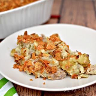 Cheesy Tuna Casserole Recipe With Barbecue Chips.