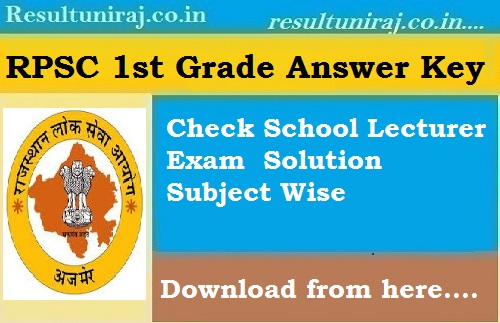 RPSC School Lecturer Answer Key 2018