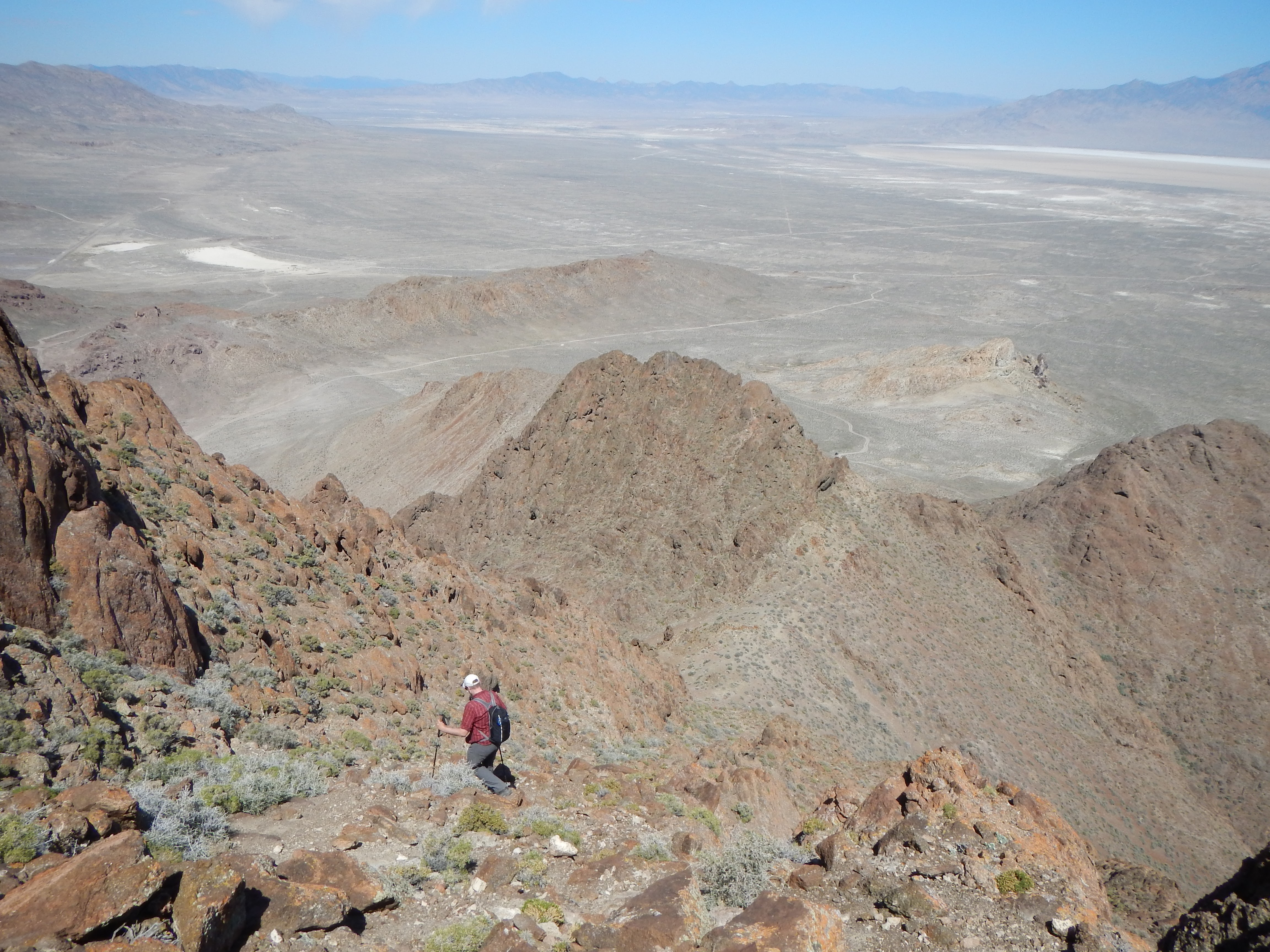 Photo: From the summit we can see the car far below.