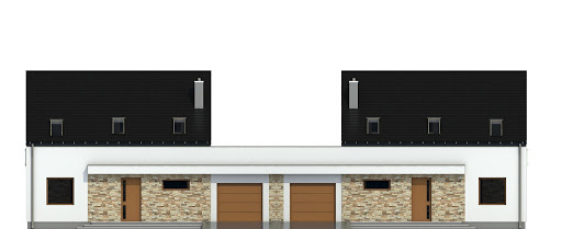 Sosnówka z garażem 1-st. bliźniak A-BL1 - Elewacja przednia