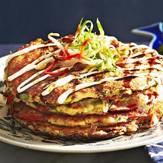 Japanese Vegetable Pancakes (Oknomiyaki).