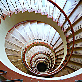 Spiral Stairs by Jacob Uriel - Buildings & Architecture Other Interior ( spiral staircase, red, stairs, ecuador, iconic, guayaquil, staircase, spiral )