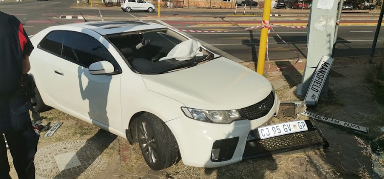 The white Kia Cerato in which various car breaking devices were found by the Tshwane metro police.
