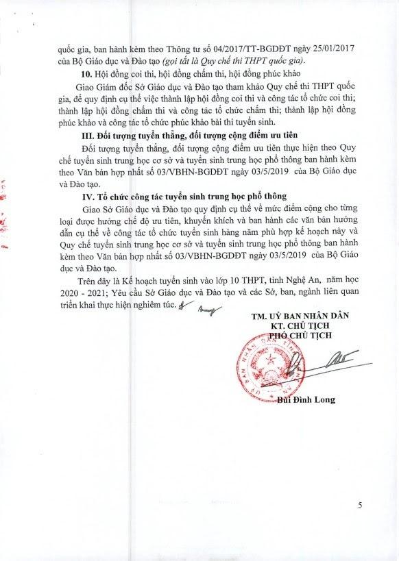 Kế hoạch kì thi tuyển sinh vào lớp 10 tại Nghệ An. Nguồn: Sở GD&ĐT Nghệ An.