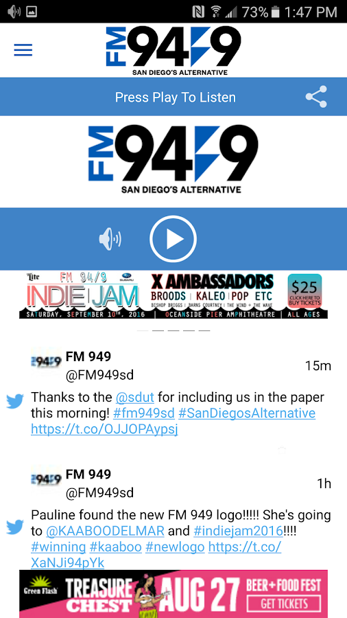 FM 949 San Diego / KBZT- screenshot