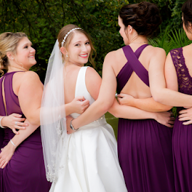 Bridesmaids in Purple by Matthew Chambers - Wedding Groups ( bride, love, bridesmaids, having fun, back, cute, friends, white, purple, wedding, matthew chambers photography, butt, fun )