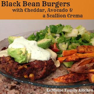 Black Bean Burgers with Cheddar, Avocado & Scallion Crema