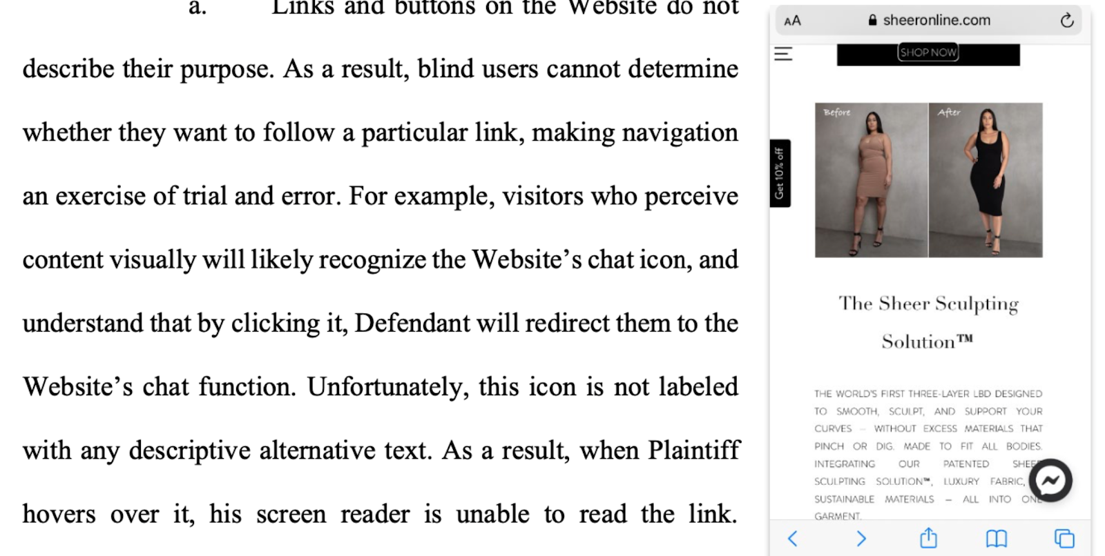 screenshot from a lawsuit explains that link and buttons do not describe their purpose. This makes it difficult for blind users to navigate. Please see text in blog for further description.