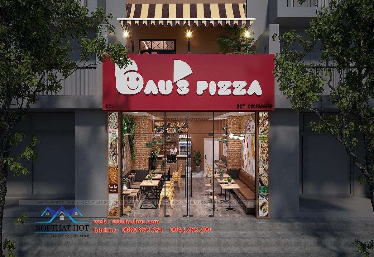 thiết kế cửa hàng pizza bau's 6