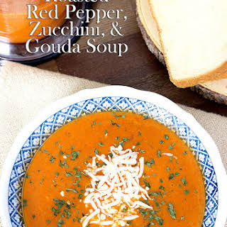 Roasted Red Pepper, Zucchini, and Gouda Soup.