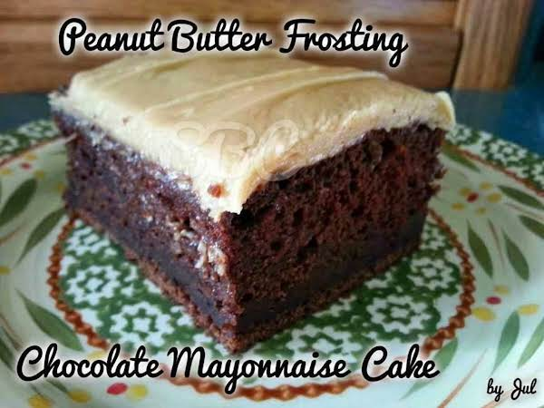 Chocolate Mayo Cake With Peanut Butter Frosting