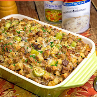 Deluxe Sausage & Mushroom Stuffing--A New Twist on a Holiday Favorite.