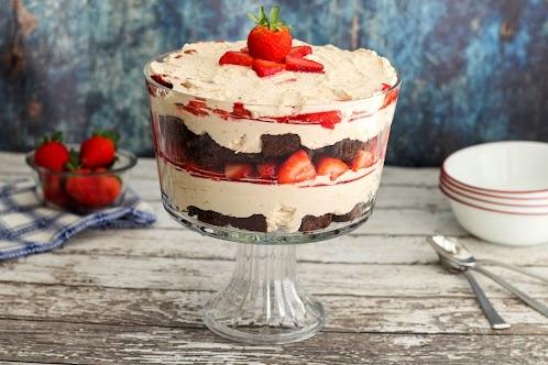 Strawberry and Chocolate Brownie Trifle