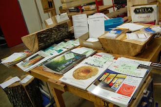 Photo: The Silent Auction had wood and back issues of American Woodturner.