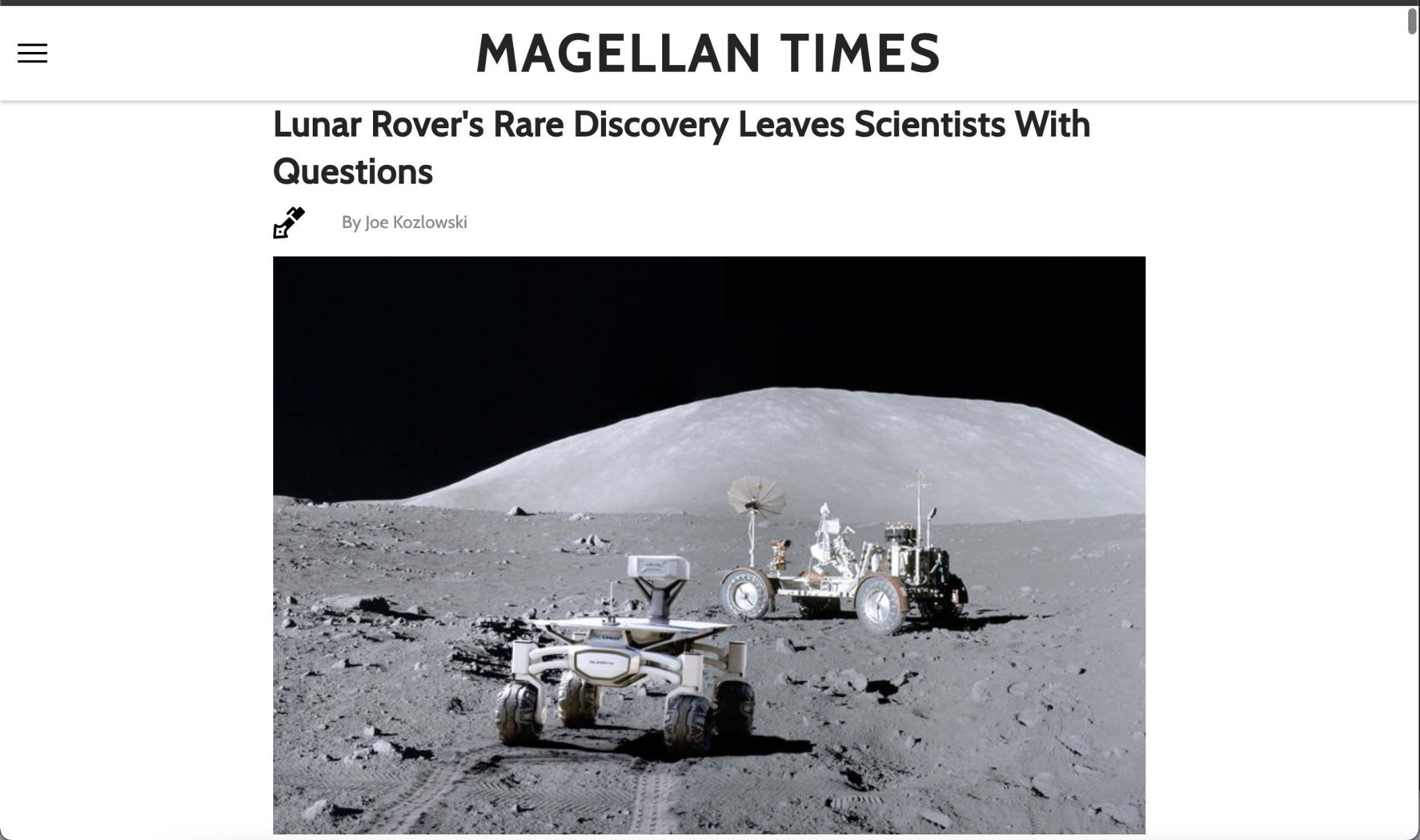 Screenshot of the magellantimes.com, with a direct page navigation. Few to no ads render.