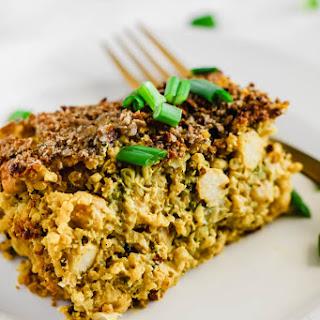 Cheesy Chickpea, Quinoa & Broccoli Casserole (vegan & gluten-free).