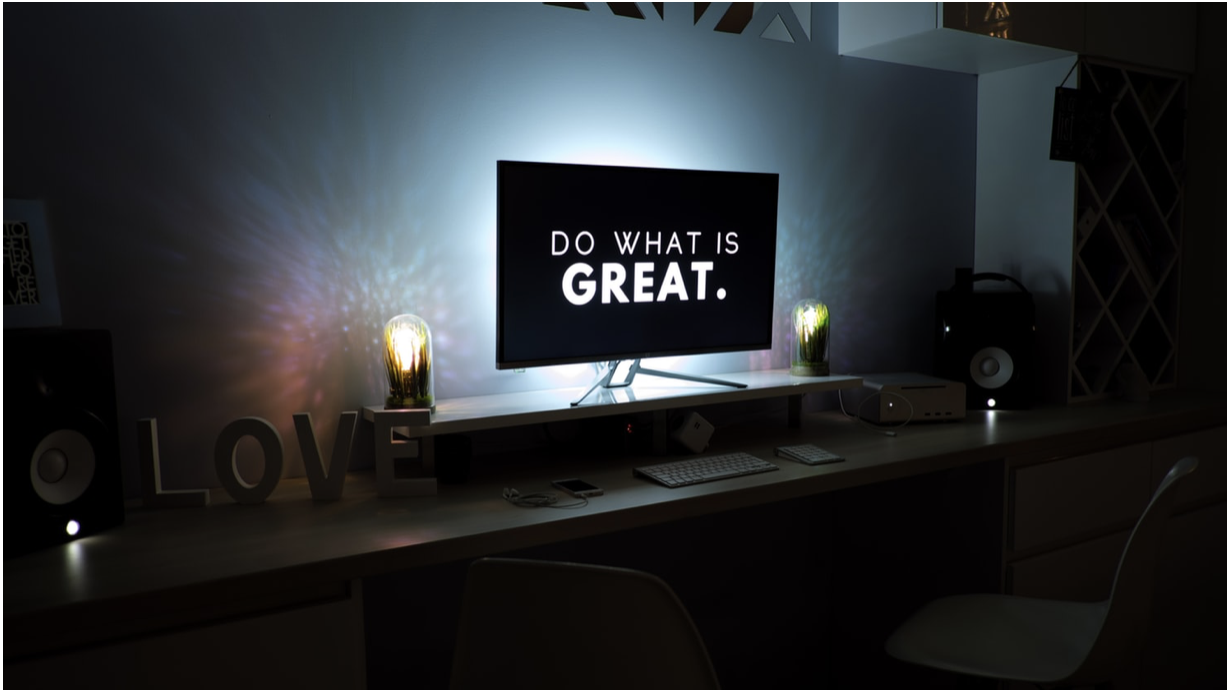 do what is great written on backlit tv in dark room