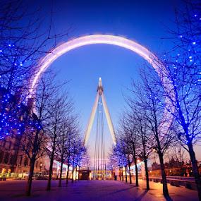 The London Eye by Chris Sargent - Travel Locations Landmarks ( pwclandmarks, london, light trails, night, big ben )