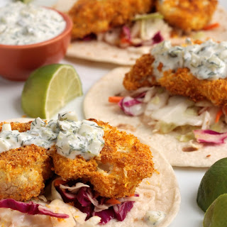 Crispy Coconut Lime Baked Cauliflower Tacos