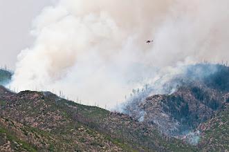 Photo: Helicopter attacks the fire; an S-64 Erickson Air-Crane.