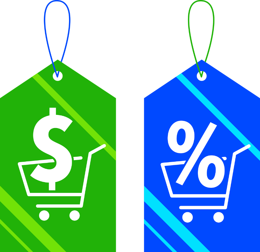 Two tags with symbols signifying sales and discounts