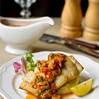 Fried Cod with Tomato-Mushroom Sauce