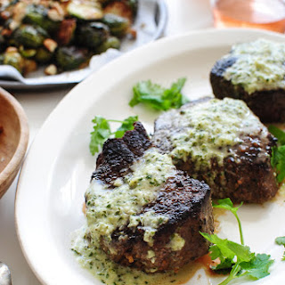 Creamy Roasted Hatch Chile Sauce with Steak and Roasted Brussels Sprouts