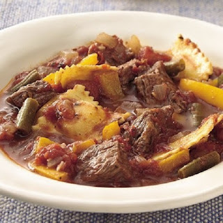 Slow Cooker Beef with Ravioli Dumplings